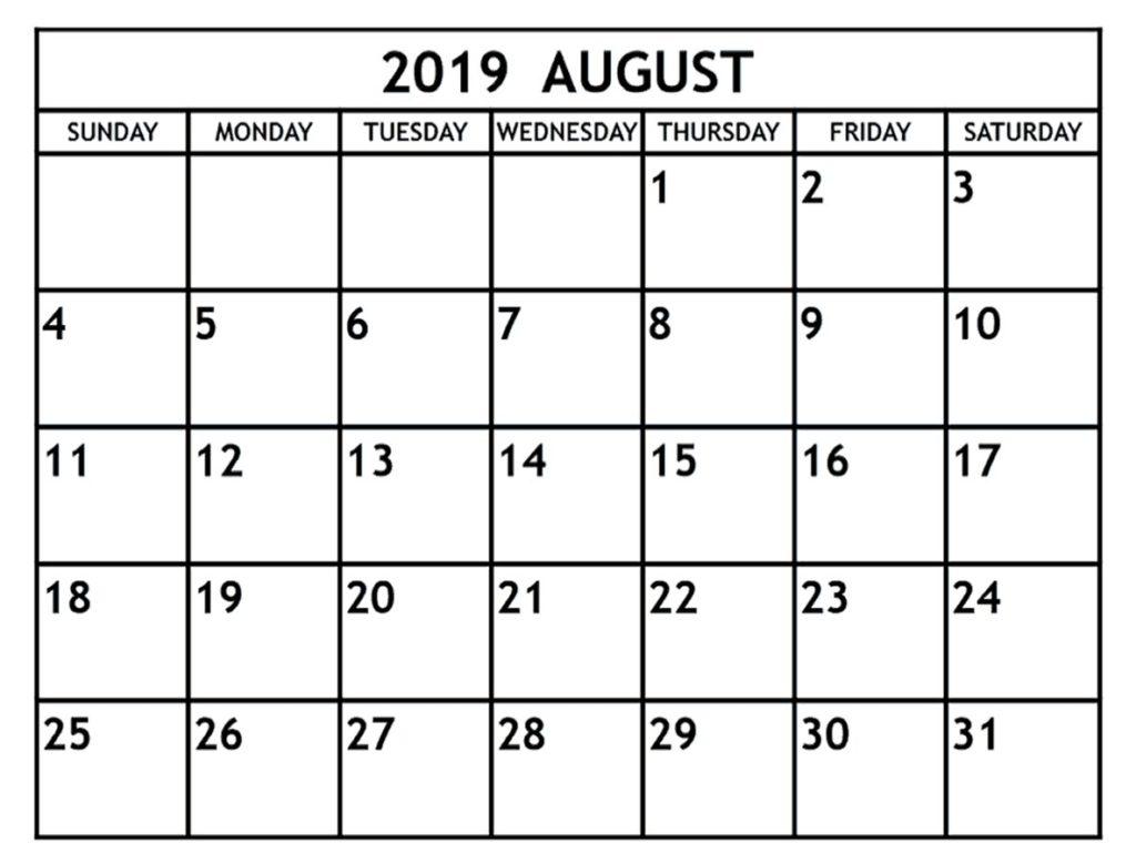 blank august 2019 calendar printable template  u2013 editable