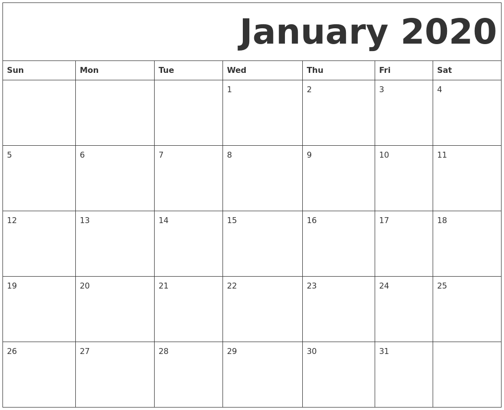 This is a photo of Peaceful Free Printable Calendars January 2020