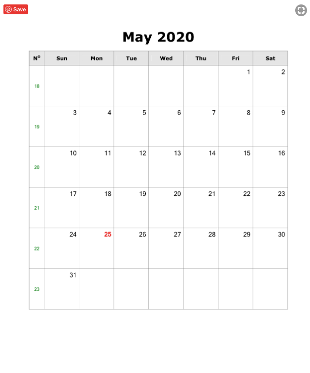 May 2020 Portrait Calendar A4 Size Template (PDF, Word