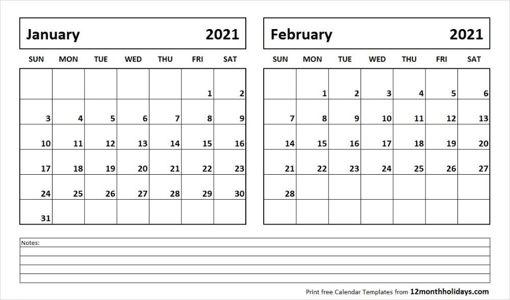 Free January and February 2021 Calendar Template